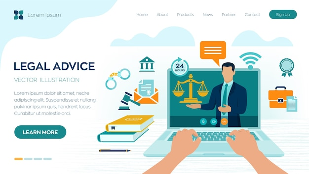 Concetto di consulenza legale online. diritto del lavoro, avvocato, avvocato. sito web dell'avvocato sullo schermo del laptop. consulenza legale professionale online, assistenza legale in azienda.