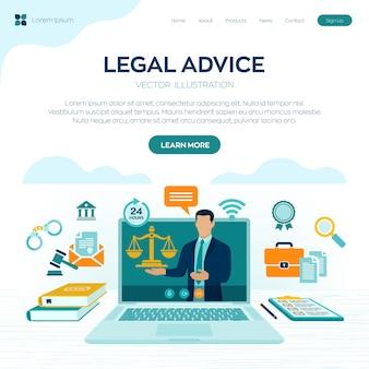 Concetto di consulenza legale online. diritto del lavoro, avvocato, avvocato. sito web dell'avvocato sullo schermo del laptop.