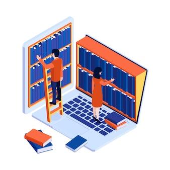 Concetto di biblioteca online con laptop e persone che prendono libri dagli scaffali isometrici