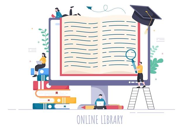 Libreria online illustrazione di sfondo per l'educazione digitale con apprendimento a distanza, lezioni registrate, tutorial video per acquisire conoscenze