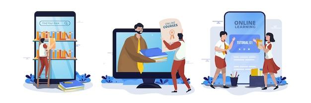 Corsi online di biblioteca e set di illustrazioni per l'istruzione