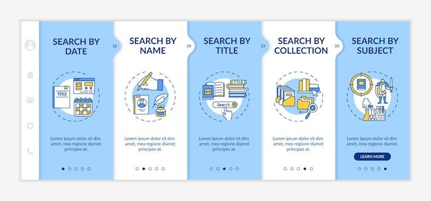 Modello di onboarding dei tipi di ricerca nella libreria online