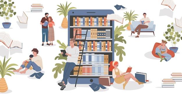 Illustrazione piana di vettore della biblioteca online persone sedute in pose comode