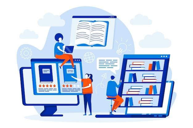 Concetto di web design di biblioteca online con personaggi di persone