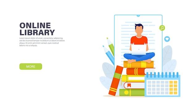 Biblioteca online giovane uomo seduto nella posizione del loto con il computer portatile su una pila di libri