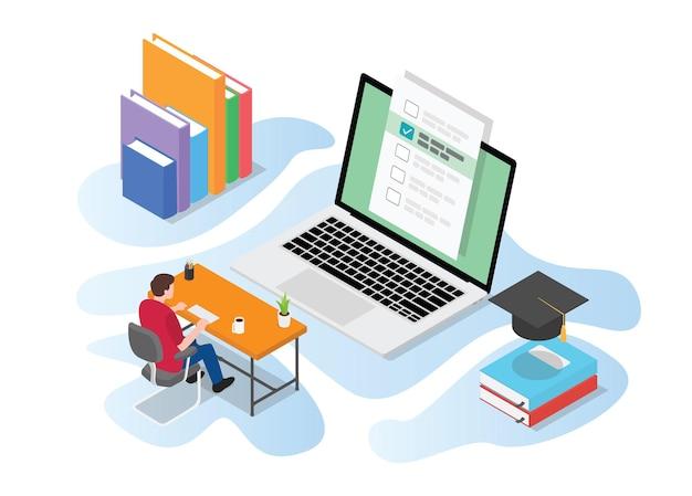 Esame di prova online o dal vivo con persone che studiano sul computer sul tavolo della scrivania con illustrazione di stile isometrico moderno