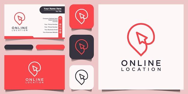 Posizione online logo design modello. cursore combinato con mappe pin.