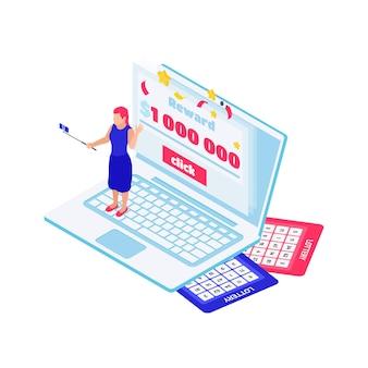 Illustrazione isometrica della lotteria online con biglietti per computer e vincitore 3d