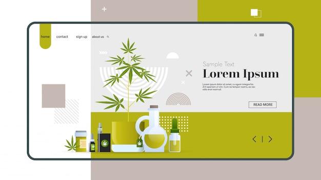 Negozio online di marijuana attrezzature e accessori diversi per il fumo di olio di cannabis medica canapa schermo dello smartphone app mobile consumo di droga concetto copia spazio orizzontale piatta