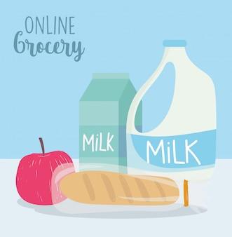 Mercato online, scatola e bottiglia di latte di mela per pane, consegna di generi alimentari in drogheria