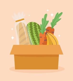 Mercato online, frutta e verdura di pane in scatola di cartone, consegna a domicilio di generi alimentari