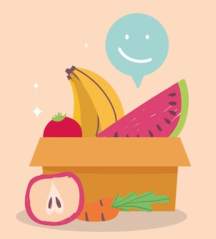 Mercato online, scatola di cartone anguria banana e mela, consegna di cibo in drogheria