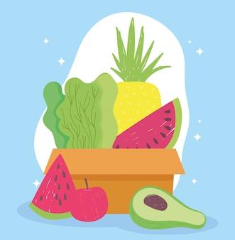 Mercato online, scatola di cartone con consegna di frutta fresca e verdura nel negozio di alimentari