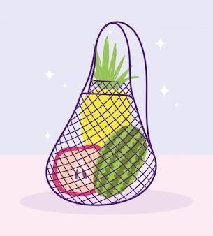 Mercato online, borsa ecologica con consegna a domicilio di alimentari e frutta
