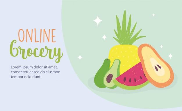 Mercato online, frutta fresca negozio di alimentari consegna a domicilio