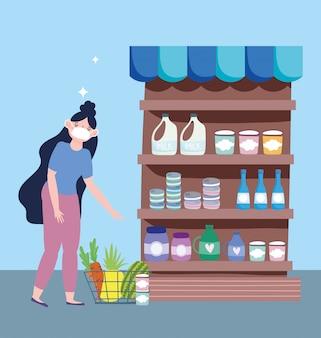 Mercato online, ragazza con maschera al supermercato, consegna di cibo nell'illustrazione della drogheria