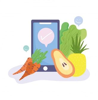 Illustrazione online di consegna a domicilio del negozio di alimentari della drogheria del mercato online, delle carote dello smartphone e dell'ananas