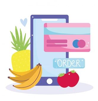 Mercato online, pagamento per smartphone digitale, consegna a domicilio di alimentari
