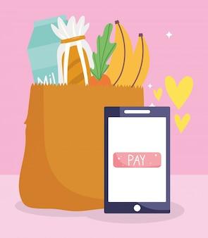 Mercato online, sacchetto di carta per smartphone con prodotti, consegna di generi alimentari in drogheria