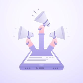 Concetto di marketing online con le mani che hanno illustrazione dei megafoni