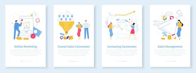 Tasso di conversione del marketing online il lavoratore attrae il cliente internet con uno sconto strategia di vendita a imbuto