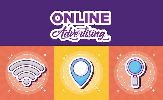 Progettazione di marketing online con icone correlate