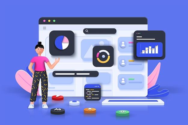 Marketing online, grafico dei rapporti finanziari, analisi dei dati e concetto di sviluppo web. ottimizzazione seo, analisi web e concetto di social media marketing seo. illustrazione vettoriale 3d