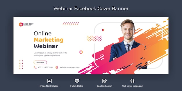 Webinar di marketing online modello di banner di copertina di facebook sui social media