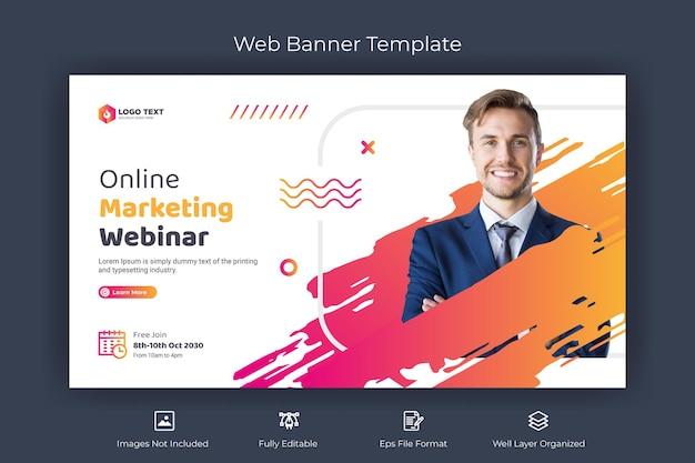 Banner web per webinar di marketing online e modello di anteprima di youtube