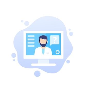 Consultazione medica online, icona di vettore di diagnosi con medic
