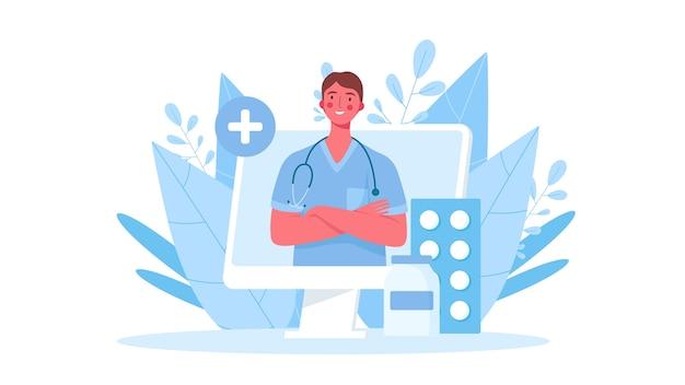 Consultazione medica online in design piatto
