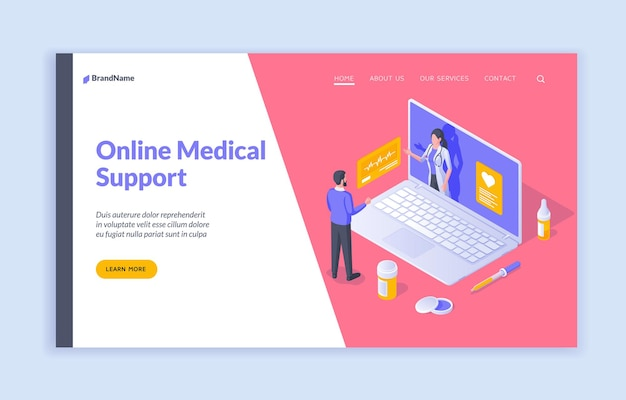 Supporto medico online banner isometrico vettoriale