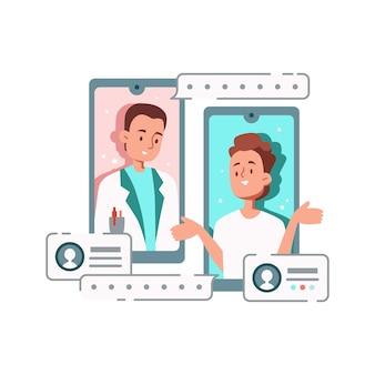 Composizione di medicina online con personaggi di medico e paziente che comunicano tramite smartphone