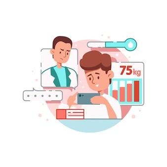 Composizione in medicina online con paziente che tiene smartphone con medico