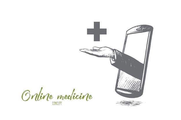 Illustrazione di concetto di medicina online
