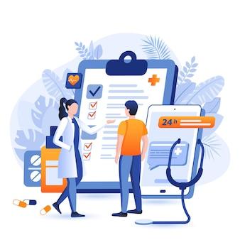 Illustrazione di concetto di design piatto di medicina online