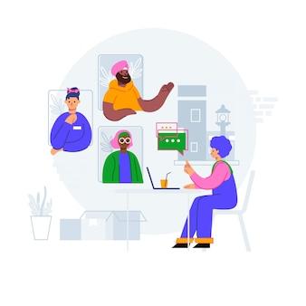 Illustrazione di concetto di riunione online