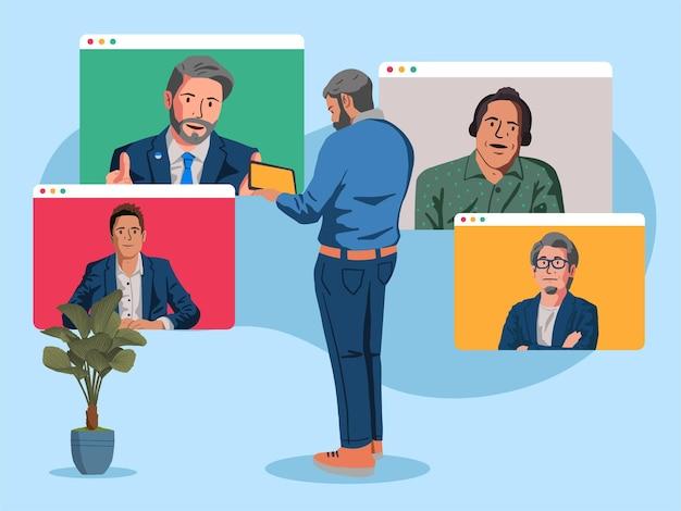Illustrazione di riunione in linea