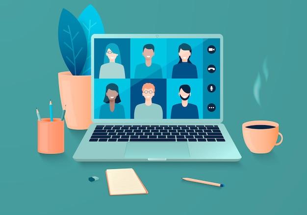Riunione online di persone che utilizzano la videoconferenza teleconferenza e lavoro in remoto da casa