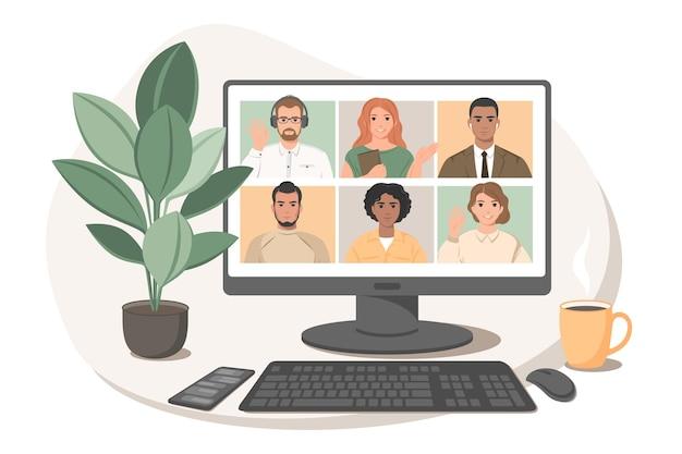 Riunione online tramite videoconferenza gruppo di persone che parlano tramite chat web su internet