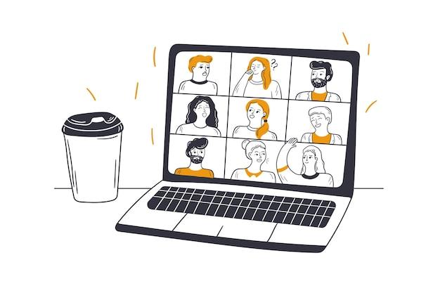 Riunione online, videoconferenza, concetto di affari.