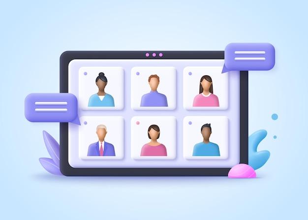 Riunione online, videochiamata per conferenze virtuali, briefing, concetto di lavoro di squadra. 3d illustrazione vettoriale realistico.