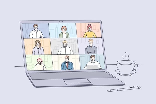 Riunione online, conferenza virtuale e concetto di videochiamata