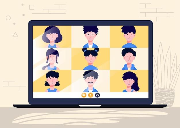 Riunione online e lavoro da casa disegno vettoriale uomo e donna alla conferenza di lavoro a distanza
