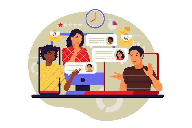 Concetto di incontro online. riunione virtuale e gruppo di incontro. illustrazione vettoriale. appartamento.