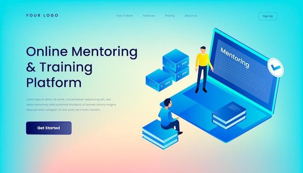 Modello di pagina di destinazione della piattaforma di formazione e mentoring online con interfaccia utente web desktop illustrazione 3d isometrica