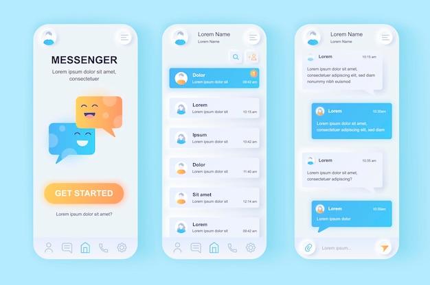 Messenger in linea moderna app mobile con interfaccia utente di design neumorfico