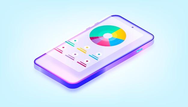 App mobile online che monitora il portafoglio elettronico di denaro sull'app mobile. analizzando i grafici. illustrazione 3d gradiente.