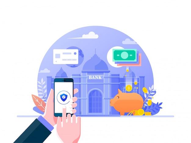 Design piatto di mobile banking online per banner di pagine web. gestione finanziaria aziendale, concetto di fintech del servizio bancario digitale. telefono della tenuta della mano che fa l'illustrazione di attività bancarie di internet.