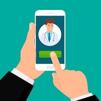 Concetto medico mobile online. app per l'assistenza sanitaria. illustrazione in stile piatto.
